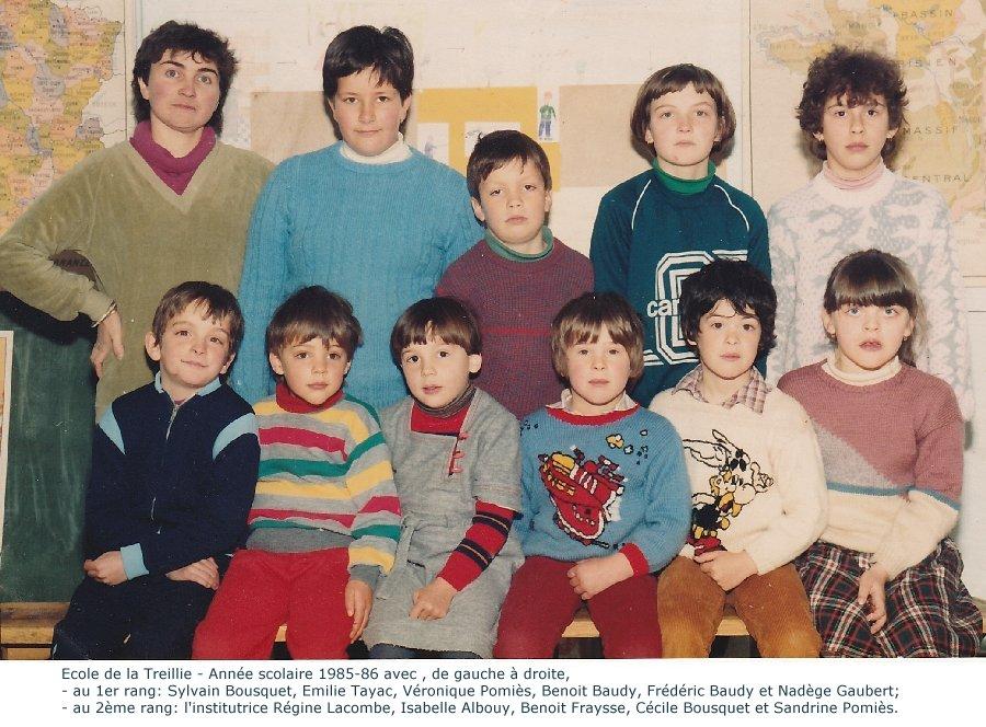 année scolaire 1985-86 école de La Treillie