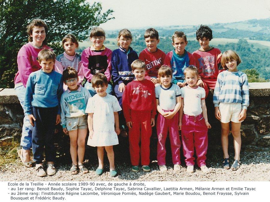 année scolaire 1989-90 école de La Treillie-